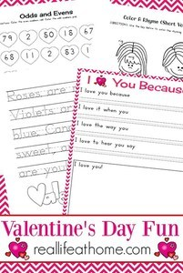 Real Life at Home printables with activities for Valentine's Day
