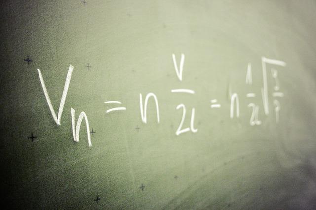 黒板に書いた数式