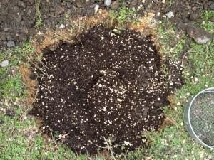 土をまぜて土づくり完了