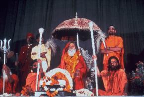 Шанкарачарья Шантананда Сарасвати Свами на золотом троне Джйотир Матха