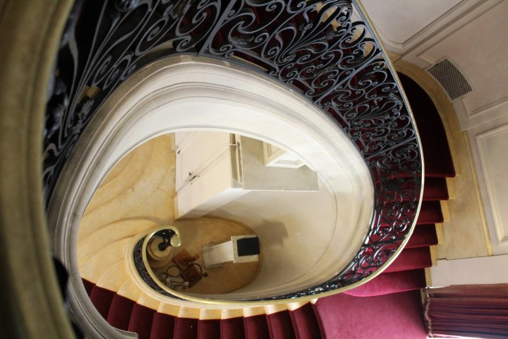Rosecliff Mansion - Newport RI | This curvaceous stairway as seen from the landing above is an elegant combination of art and engineering!