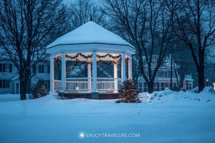 Winter in Bethel Maine | The Bethel Green | Gazebo