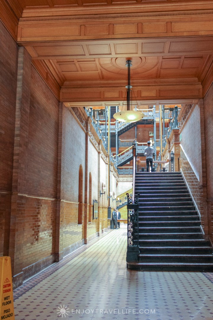 The Bradbury Building Los Angeles - interior stairs and coffered ceiling