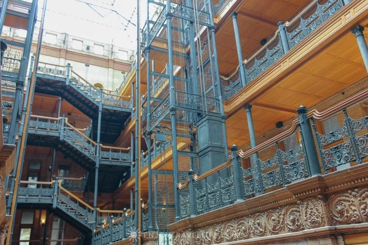 Hidden gems in L.A - ornate interior of The Bradbury Building