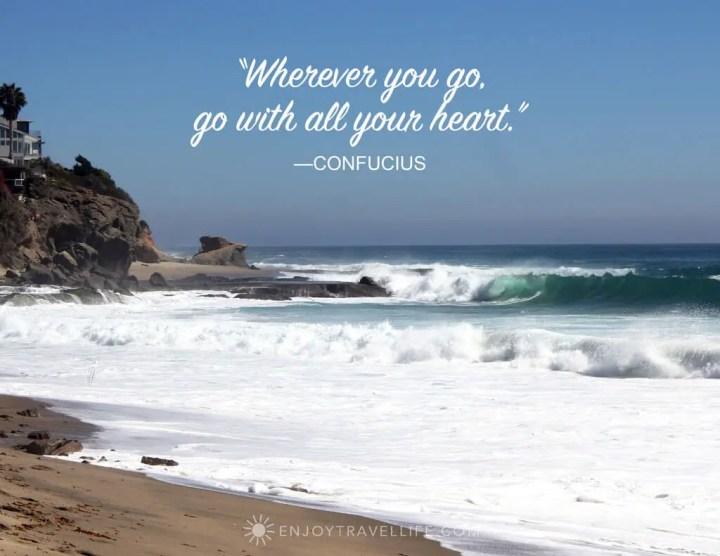 Inspirational travel quote with photo of Laguna Beach