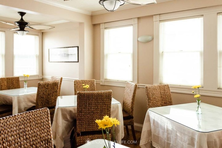 Cheery breakfast room at Inn on the Sound Falmouth Mass