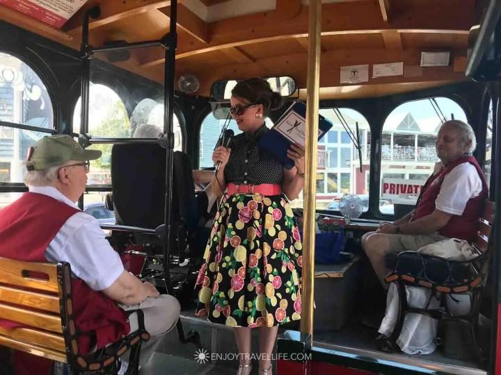 Karen Scalia of Salem Food Tours aboard a Salem Trolley Tour, Salem MA