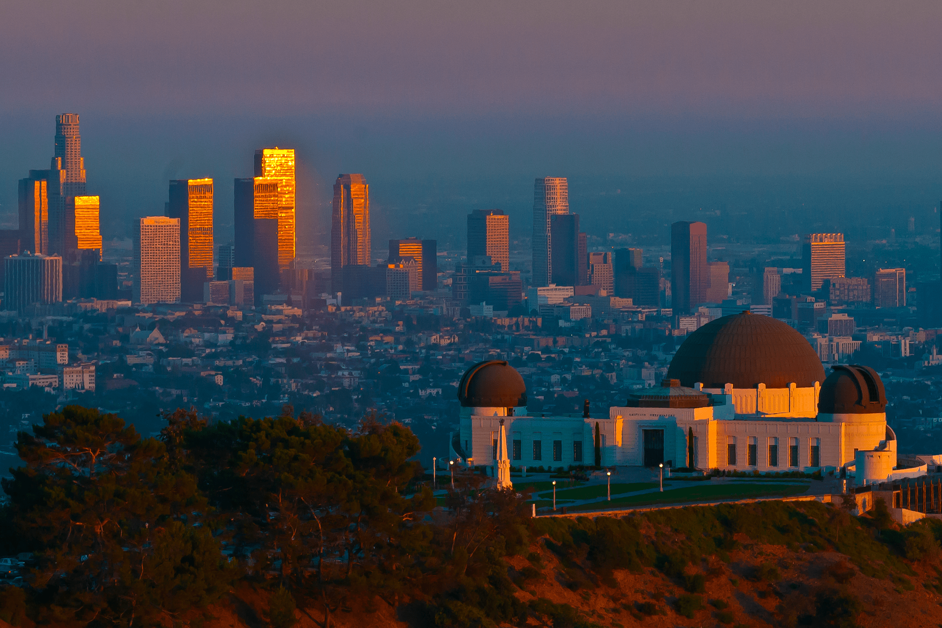 LA skyline from Griffith Observatory | Free Los Angeles