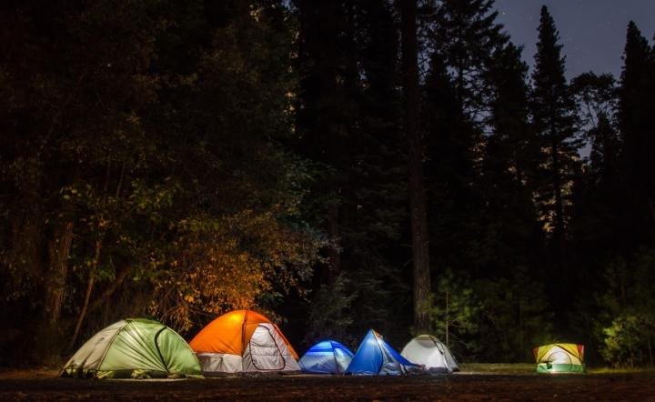 Tips for Tent Camping (several tents glow at night)