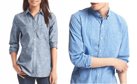 Her synes tydelig forskjellen på kneppingen på kvinneskjorte og herreskjorte. Foto: GAP
