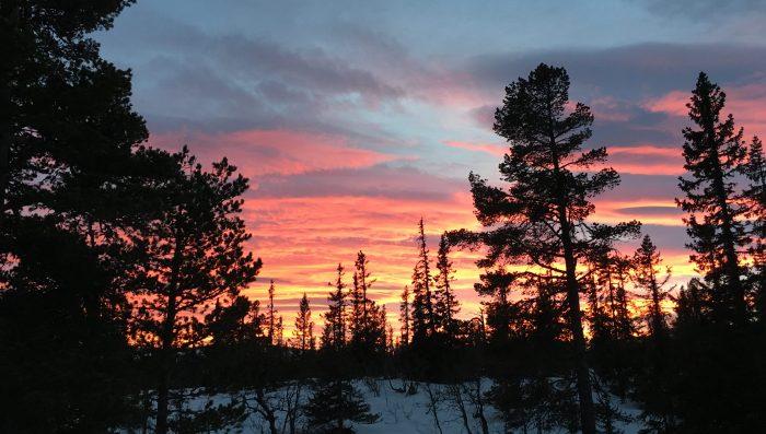 Skiføret var ræva, men solnedgangen var ganske flott