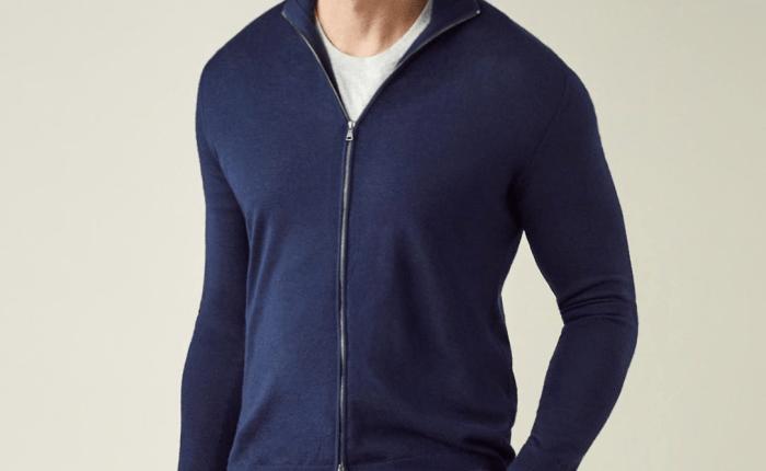 Zip-cardigan i silke og kasjmir fra Luca Faloni