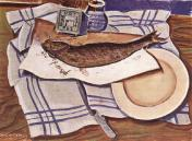 Derkovits Gyula - Nature morte avec poissons, 1928