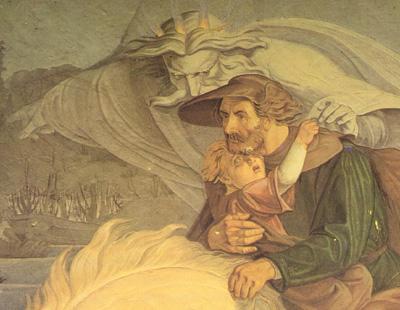 Erlkoenig, détail d'une fresque de Crl Gottlieb Peschel