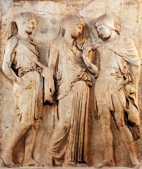 Hermès, Eurydice et Orphée, Bas-relief du Ier siècle, Musée du Louvre