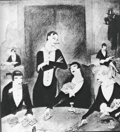 1925-the monbijou berlin's most exclusiv lesvian club-painting by J. Mammen