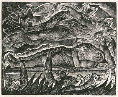 William Blake - Job Evil Dreams (détail du centre de l'image) - planche 11