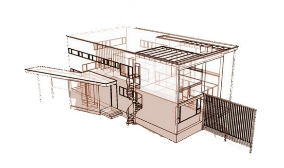 Gropius House à Lincoln - Isométrie