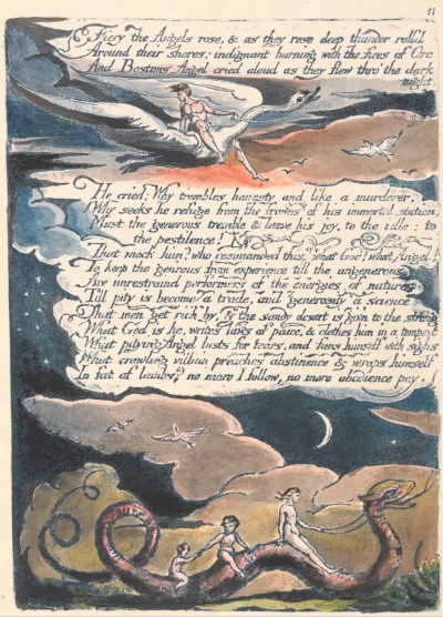 """William Blake - America. A Prophecy, Plate 13, """"Fiery the Angels Rose...."""""""