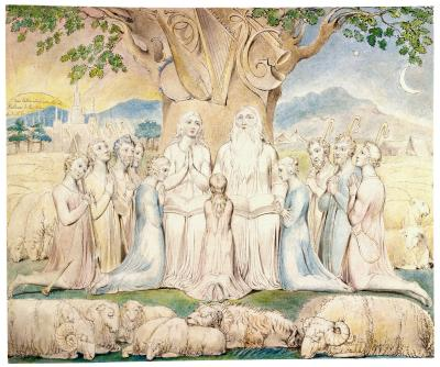 William Blake - aquarelle de l'illustration de la planche 20 du Livre de Job : Job  et sa famille (1805)