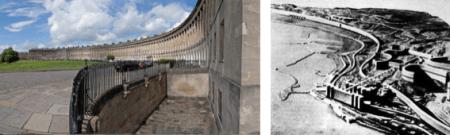 Royal Crescent de Bath et plan d'Alger de Le Corbusier