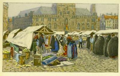 Henri Cassiers - Marché sur la Grande place de Bruges