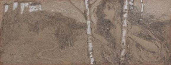 Hugo Boettinger - Rusalka in a birch groove