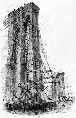 Drawing of the East River Bridge (Brooklyn Bridge) as it appeared during construction, publié en 1900