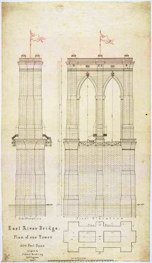 Plan of One Tower for the East River Bridge, 1867. From the National Archives.