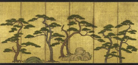 One of a pair of six-fold paper screens Japan Edo period 18th century