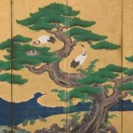 Auspicious pines, bamboo, plum, cranes and turtles (detail), Edo period (1615 –1868), by Kano Sansetsu (1590–1651). Japan.