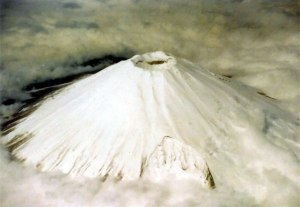 Aerial-view-of-snow-capped-crater-located-on-the-highest-peak-of-Mt.Fuji_