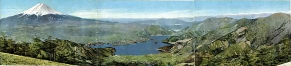 Japan Alps and Lake Motosu Saiko Kawaguchi and Mt Fuji from Mitsu Pass