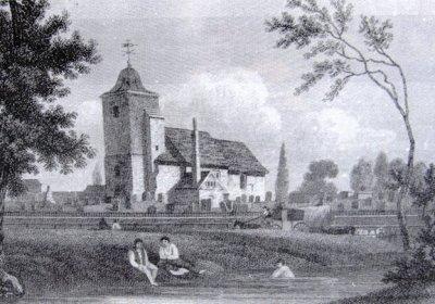 St Pancras Old Church et son cimetière. Au premier plan, la rivière Fleet, aujourd'hui souterraine.