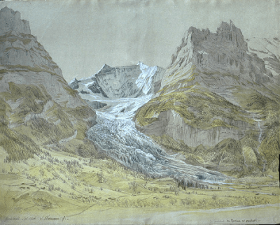 Samuel Birmann - le glacier inférieur de Grindelwald, 1826