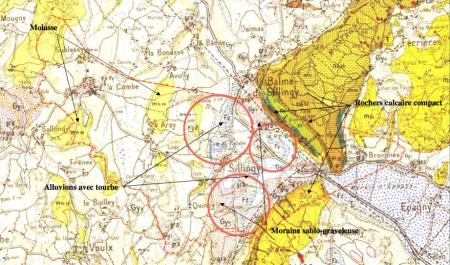 Extrait de la carte géologique au 1/50 000 du BRGM : zones humides Sillingy 74