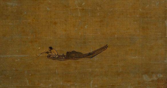 Pêcheur solitaire sur le fleuve en hiver, Ma Yuan, 1195, Song du Sud. Détail d'un rouleau vertical, soie, 141 x 36cm. Tokyo National Museum.