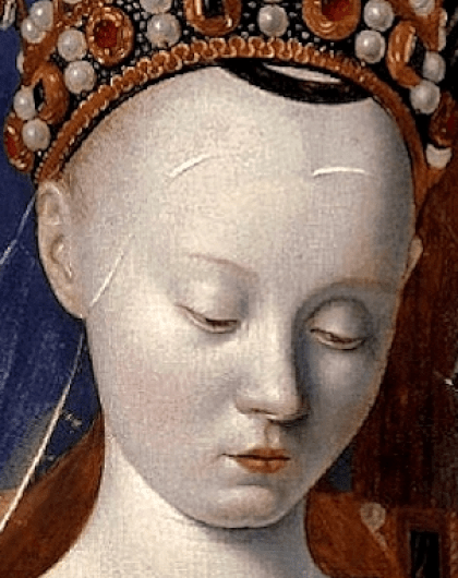 Jean Fouquet - la Vierge de Melun, vers 1452 (détail 3)