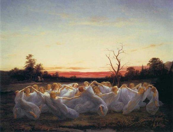 Ängsälvor (Elfes dans un pré) par Nils Blommér, 1850.