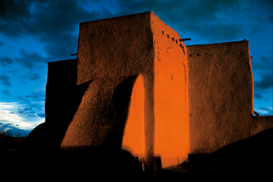 Ansel Adams - Church, Sunset, Ranchos de Taos, New Mexico, 1948.png