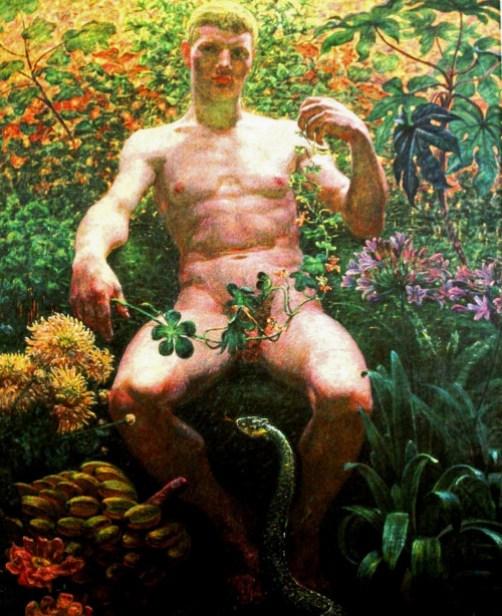 Kristian Zahrtmann (Danish 1843-1917)- ADAM IN PARADISE, 1914