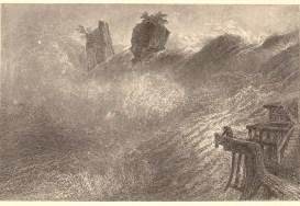 William Henry Bartlett (1809-1854), Stich von W. Hill. - Der Rheinfall..