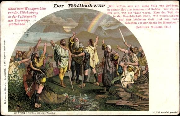 kunstler-ansichtskarte-postkarte-stuckelberg-der-rutlischwur-tellskapelle-am-vierwaldstattersee
