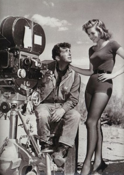 Dean Martin and Angie Dickinson on the set of Rio Bravo