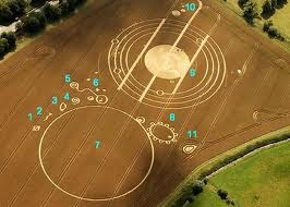 Crop circle in UK that depicts Nibiru invading the inner solar system (public domain image)
