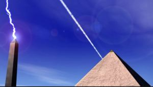 Pyramid power station sending, monolith receiving (snip from Ancient Aliens, Season 5, Disk 1)
