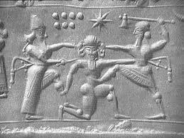 GIlgamesh and Enkidu kill Enlil's guardbot, Huwawa