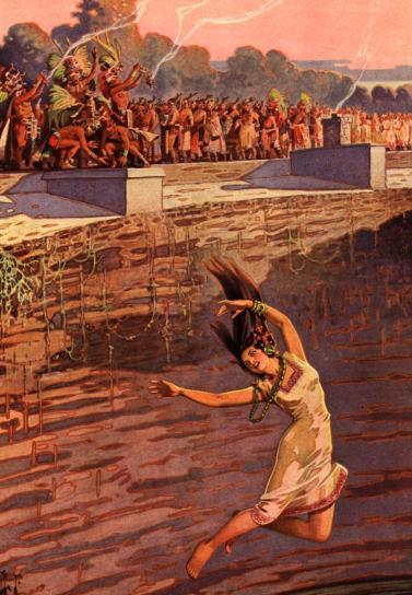 Maya cast virgins into sacred well.