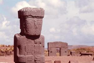 Viracocha (aka Adad, Teshub, Uskar) statue, molded with cone-shaped sound frequency devices, created Pumapuka, near Tiahuanaco, the main Nibiran base in the Western Hemisphere.