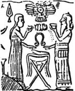Ninmah (with her symbol, an umbilical-cutter) and Enki
